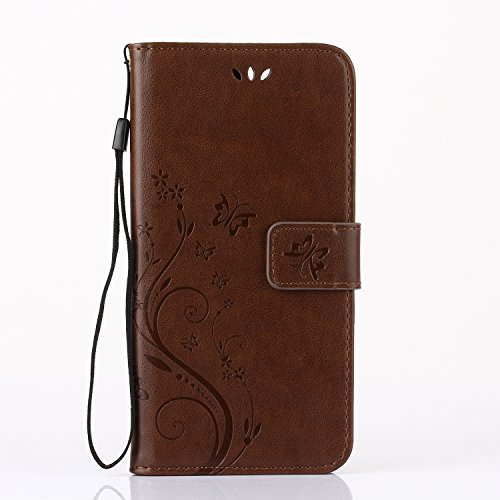 iPhone 7/iPhone 8 Coque de Luxe,iPhone 7/iPhone 8 Case Bookstyle,Hpory Neo élégant Luxe PU Cuir Solid Color Papillon en Relief Motif Book Style Folio Stand Fonction Support PU Leather Walllet Case wit Papillon,Brun clair