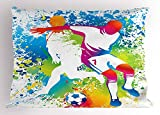 beautiful& Youth Pillow Case Football Players with a Soccer Ball And Colorful Grunge Splashes Competition Sports 30 X 20 Inches