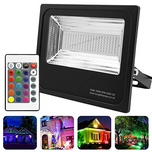 Long Life Lamp Company LED-Flutlicht, IP66, 100 W, RGB, Farbwechsel, Fernbedienung, 240 V, Memory-Funktion, 100 A, Schwarz -