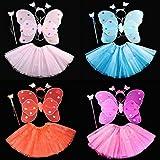 Kasit 4Pcs gesetztes feenhaftes Prinzessin-Schmetterlings-Partei-Kostüm-Flügel-Stab-Stirnband-Kleid-Mädchen-feenhafte Rod-feenhafte Prinzessin-Kostüm-Schule-Erscheinen - Rosen-Rot -