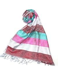 Lovarzi - Mujer rayas bufanda de seda - lujoso colorido pañuelo de seda