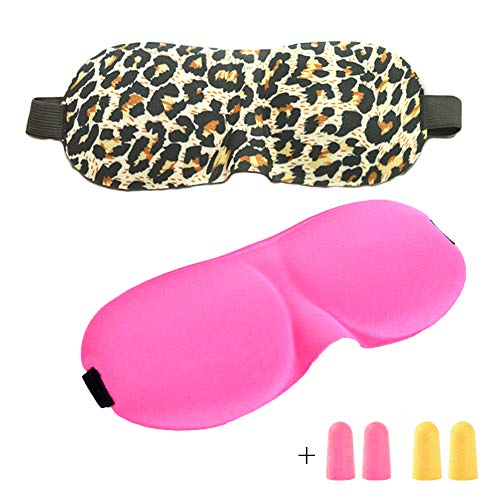 3D Schlafmaske Augen Nachtmaske, Mädchen Frauen Schlafmaske 2pcs - Rose Red und Leopardenmuster, mit 2 Paar Ohrstöpsel