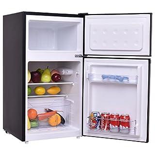 COSTWAY Kühlschrank mit Gefrierfach Standkühlschrank Gefrierschrank Kühl-Gefrier-Kombination/A / 85L / Schwarz