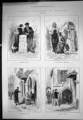 Geschichte Kostüm Antike - Old-print La Copie Antique des Croquis Deutschland Kostüm der Friseurgeschäfte der Sachsen Leipsic 1879