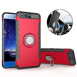 Mosoris Hülle für Huawei Honor 9, Huawei Honor 8 Pro Handyhülle mit Ring Kickstand, Schutzhülle mit 360 Grad Drehbarer Handyhalterung Geeignet für Auto Magnet Ring für Huawei Honor 9, Rot