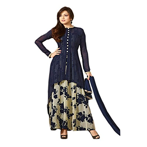 Ethnic Empire Blue GEorgette Salwar Suit COLOR LATEST INDIAN DESIGNER ANARKALI SALWAR...