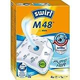 Swirl M 48 MicroPor Plus Staubsaugerbeutel für Miele Staubsauger, Anti-Allergen-Filter, 4 Stück inkl. Filter