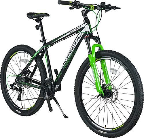 KRON XC-150 High-Class Aluminium Mountainbike 27.5 Zoll | 24 Gang Shimano Kettenschaltung, Hydraulische Shimano Scheibenbremse, Lockout Gabel | 18 Zoll Rahmen | Schwarz & Grün (Scheibenbremsen Für Mountainbike)