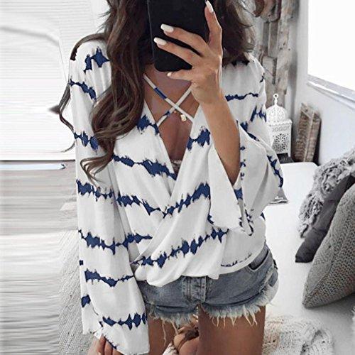 Jimma Tops, Femmes T-shirt en mousseline de soie à manches longues,Chemisiers à rayures en vrac Bleu