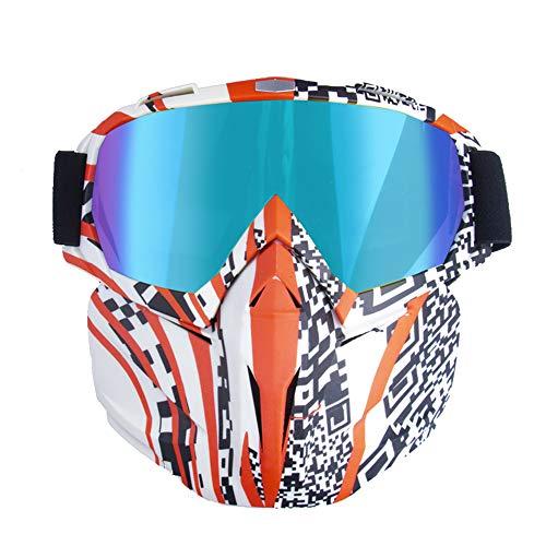 Motorradhelm Schutzbrille Brille Mit Abnehmbarer Maske, Abnehmbare Anti-Fog Warme Brille Mundfilter Einstellbare Anti-Rutsch-GüRtel Retro Harley Combat Motocross,Multicolored,QR