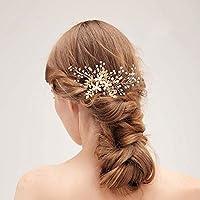 Soleebee Gioielli da sposa con perline artificiali di perle di Capelli  Pettine con cristalli fb289bbcb89a