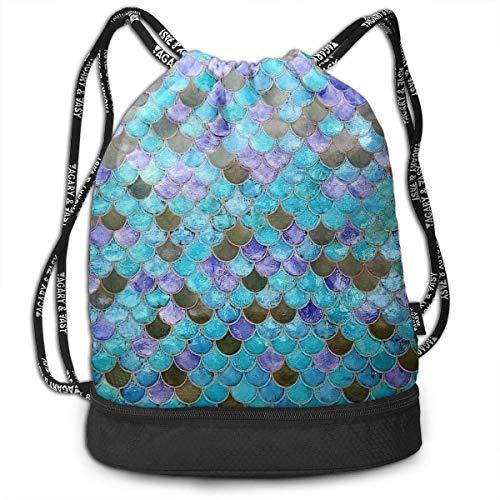 0cf2a4e5e88b nbvnc Mochila con cordón,Women & Men Drawstring Backpack Mermaid Fish Scale  Sports Gym Travel Bundle Backpack Bag Hiking Cool Duffle Bag Light ...