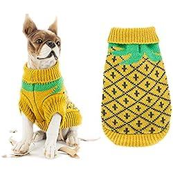 Bokning Abrigo de Invierno de Perro Warm Sweater Jumpers Halloween Ropa de Calabaza Patrón de Fresa de Piña Ropa de Punto de Perro