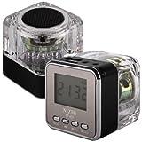 Premium NiZHi Lautsprecher/Uhr/Radio mit Micro SD Kartenleser für Apple iPhone 3 G 3GS 4 4S 5/iPod Classic Nano alle Generationen Touchscreen/iPad 1 2 3 4 - Schwarz