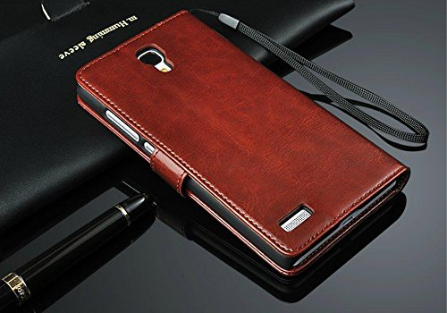 BEST DEALS Best Deals Premium High Quality Xiaomi Redmi Note 3G/4G PU Leather Wallet Flip Cover Case Brown
