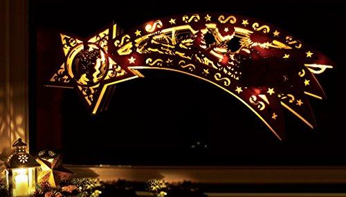 LED Holz-Sternschnuppe mit  10 LED`s beleuchtet / Echtholz / kabellos /  Weihnachtsdekoration / Fensterbild