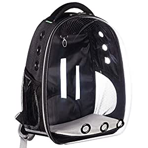 24x7 eMall Creative Transparent Pet Backpack Carrier Breathable Capsule Traveller for Cats and Small Dogs. (Black)