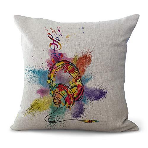 MEHOUSE Housses de Coussin,Coussin Taie d'oreiller,Taie de Coussin,Taie d'oreiller Musique Coton Et Lin Throw Pillow Case Cushion Cover 45 * 45CM