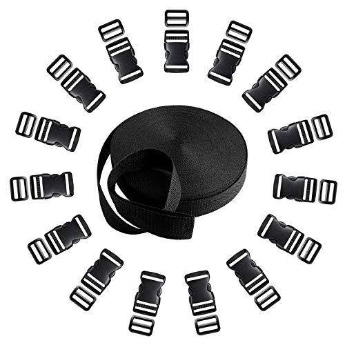 Langtor 15 Set Side Release Kunststoffschnallen mit 1 Rolle 10 Yards Nylon Gurtband Riemen für DIY Making Gepäckband, Haustier Kragen, Rucksack reparieren -