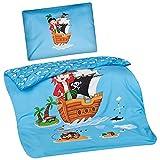 Aminata Kids - Kinder-Bettwäsche 100-x-135 cm Pirat-en-Motiv Piraten-Schiff Schatz Toten-Kopf-Flagge 100-% Baumwolle Renforce hell-blau-e grün-e gelb