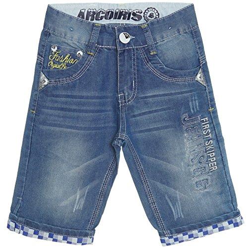 Jungen Kurze Hose Shorts Bermuda Cargo Kinder Capri Vintage Jeans Strech 21361, Farbe:Blau;Größe:140 Jungen Jogginghose Cargo