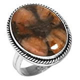 Solid 925 Sterling Silver Ring Natural Chiastolite Cross Stone Gemstone Latest Jewelry Tamaño 17.75