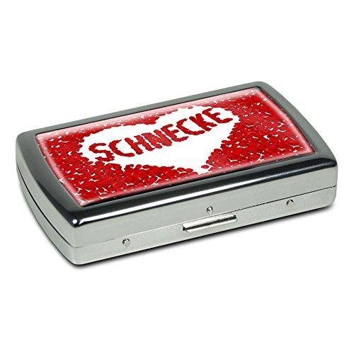 Zigarettenetui mit Namen Schnecke - Edle Chrom-Metallbox mit Design Rosenherz - Zigarettenbox, Zigarettenschachtel, Metallbox -