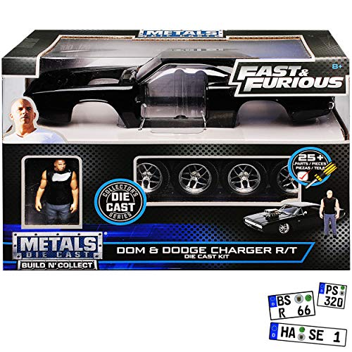 Jada Dodge Charger R/T mit Figur Dom Toretto The Fast and The Furious Bausatz Kit 1/24 Modell Auto