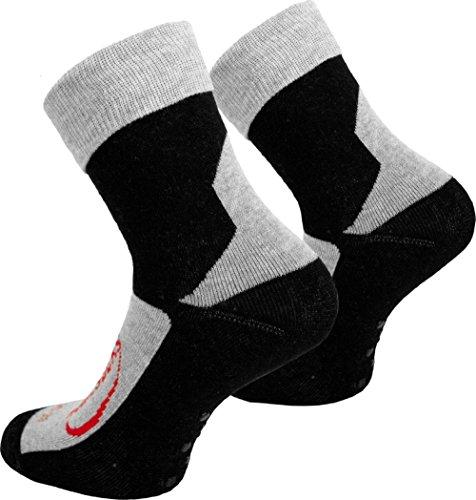 Tobeni 3 Paar Homesocks ABS Socken Rutschfeste Stoppersocken mit Umschlag für Teenager Damen und Herren Farbe Schwarz Grösse 39-42
