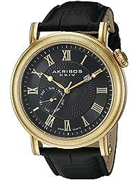Akribos XXIV Reloj de hombre de cuarzo con Negro esfera analógica pantalla y correa de cuero negro ak673bkg