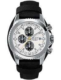 Caterpillar STATEN CA1058 - Reloj analógico de caballero de cuarzo con correa de piel negra (