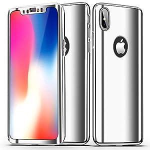 Custodia iPhone X, iPhone XS Cover 360 Gradi, SainCat Custodia 360 Gradi Full Body 3D Specchio Ultra Slim Plastic Protettiva Anti-scratch Cover per iPhone X/XS-Argento 2 spesavip