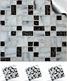30 Mosaic Wall Tile Stickers For 150mm (6 inch) Square Tiles –(30 Black Mosaic Marble - TP 71)- Realistic Looking Stick On Wall Tile Transfers Directly From the Manufacturer: TILE STYLE DECALS, No Middleman -- Peel and Stick on Tile to Transform your Kitchen, Bathroom – Oil-proof, Waterproof Tile Stickers, Heat Resistant Sticks on tile kitchen tiles stickers / Bathrooms Tile Stickers – (6