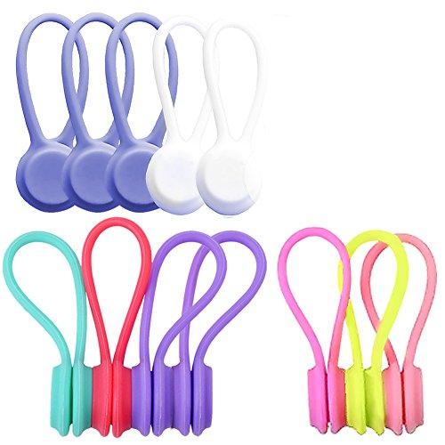 Mallalah 12 Pcs magnétique bobines Écouteurs en Silicone Enrouleurs Cordon Câble Souples et USB pour Phone Marque-Page et Clé Multicolores