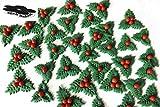 Christmas Sugar Holly Leaves Set High Quality Handmade Cake Cupcake Decorations Topper