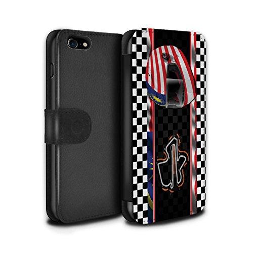 Stuff4 Coque/Etui/Housse Cuir PU Case/Cover pour Apple iPhone 7 / Espagne/Catalogne Design / F1 Piste Drapeau Collection Malaisie