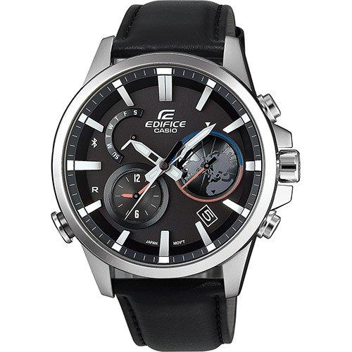 eqb 600 Casio Herren Chronograph Solar Uhr mit Leder Armband EQB-600L-1AER