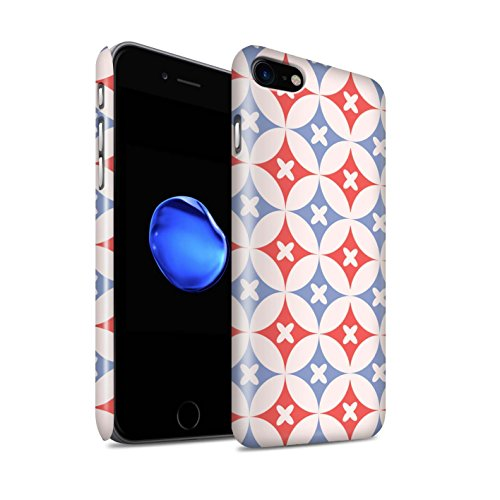 STUFF4 Glanz Snap-On Hülle / Case für Apple iPhone 8 / Pink / Grün Muster / Kaleidoskop Kollektion Rot / Blau