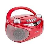 Reflexion CD-Player mit Kassette, USB, SD, UKW-Radio, AUX-Eingang, Netz- und Batteriebetrieb, rot