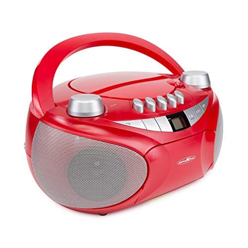 Reflexion CD-Player mit Kassette, USB, SD, UKW-Radio, AUX-Eingang, Netz- und Batteriebetrieb, rot Standard