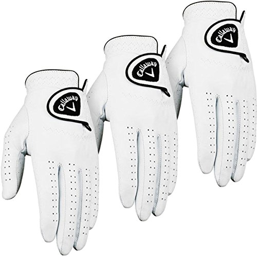 Callaway Golf 2014 Mens Dawn Patrol Leather Golf Glove LH (3 Pack) – White – XL