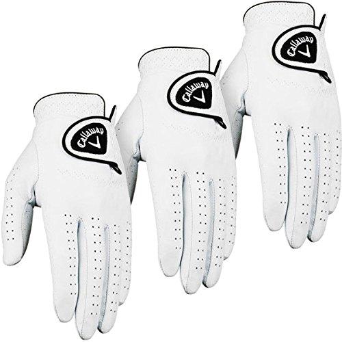 Callaway Golf 2014 Mens Dawn Patrol Leather Golf Glove LH (3 Pack) – White – XL