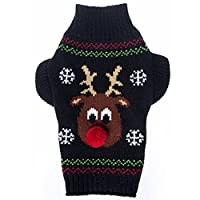 Doggie Style Store Black Reindeer Rudolph Dog Pet Puppy Knitted Jumper Knitwear Christmas Xmas Sweater Size XL