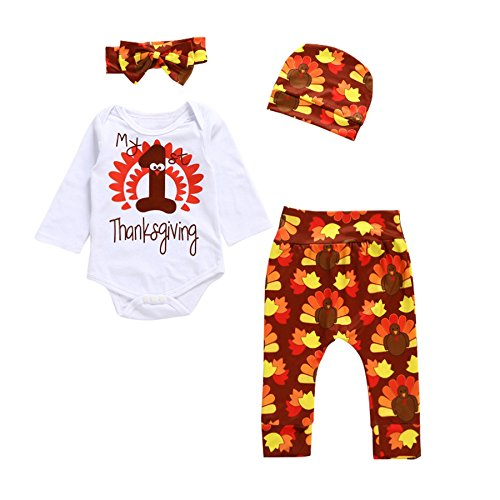 Funnycokid Unisex Baby Thanksgiving Outfit Set Lange ärmel Strampler + Hosen + Hut + Bowknot-Stirnband
