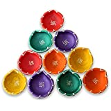 SHREE G Diya For Decoration | Diya For Puja | Diya Holder Decorative | Diya Lamps For Pooja | Diwali Gifts And Decoration(Set Of 10, Handmade)