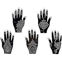 5 Feuilles Mehndi Tatouage Pochoir pour la main Hand 5 Mehndi Tatouages au henné Set 3 à usage unique - pour tatouage au henné, tatouage paillettes et aérographe tatouage
