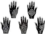 Mehandi Kit de 5 plantillas 5con diseños de Henna para manos. También adecuadas para tatuajes de brillantina y aerógrafo. Usar y tirar.