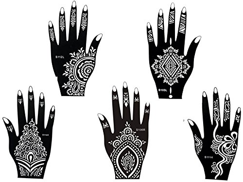 5 fogli mehndi tattoo stencil mano mehndi tatuaggi all'hennè no. 5 - usa e getta - per tatuaggio all'henné, scintillio tatuaggio e airbrush tatuaggio
