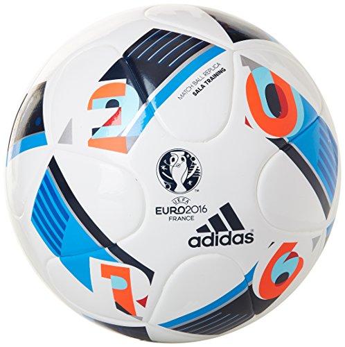 adidas Herren Ball EURO 2016 Sala Training, White/Bright Blue/Night Indigo, FUTS, AC5446