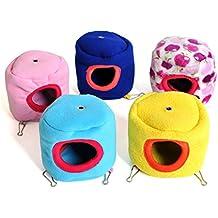 Lumanuby 1x pequeña mascota cama invierno cálido algodón hamaca cama de franela Stump Hanging Hamster loro Ardilla nido casa pequeño Animal jaula (color al azar)